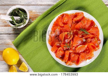 Red Fish Fillets On White Plate