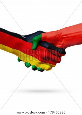 Flags Germany Portugal countries handshake cooperation partnership friendship or sports team competition concept isolated on white