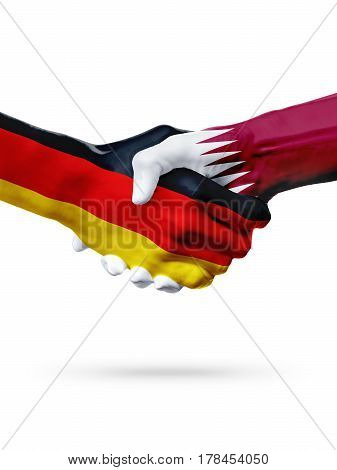 Flags Germany Qatar countries handshake cooperation partnership friendship or sports team competition concept isolated on white