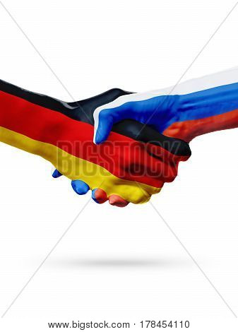 Flags Germany Russia countries handshake cooperation partnership friendship or sports team competition concept isolated on white