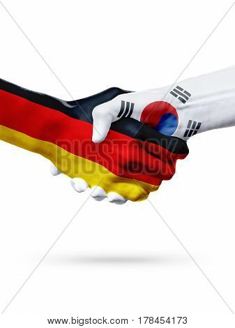 Flags Germany South Korea countries handshake cooperation partnership friendship or sports team competition concept isolated on white