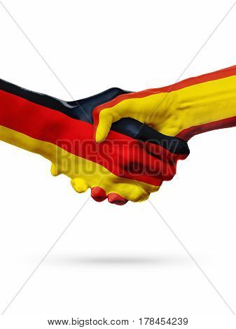 Flags Germany Spain countries handshake cooperation partnership friendship or sports team competition concept isolated on white
