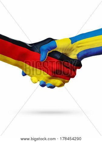 Flags Germany Sweden countries handshake cooperation partnership friendship or sports team competition concept isolated on white