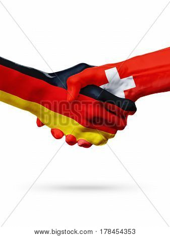 Flags Germany Switzerland countries handshake cooperation partnership friendship or sports team competition concept isolated on white