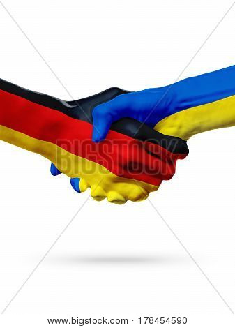 Flags Germany Ukraine countries handshake cooperation partnership friendship or sports team competition concept isolated on white