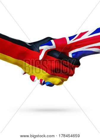 Flags Germany countries handshake cooperation partnership friendship or sports team competition concept isolated on white