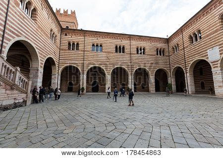 VERONA ITALY - MAY 1 2016: View of the Courtyard of the Palazzo della Ragione in Verona. Italy