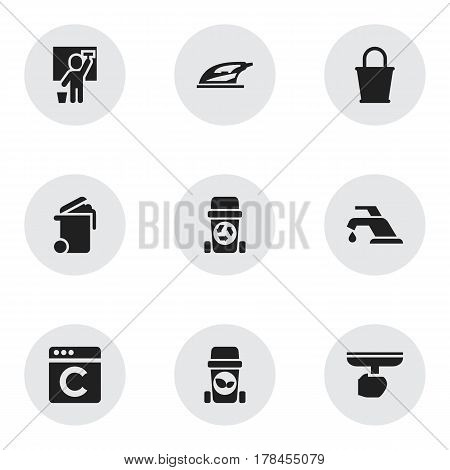 Set Of 9 Editable Dry-Cleaning Icons. Includes Symbols Such As Container, Cleaning Man, Rubbish Container And More. Can Be Used For Web, Mobile, UI And Infographic Design.
