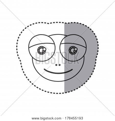 sticker of grayscale contour with face of frog with big eyes vector illustration