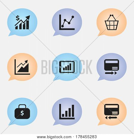 Set Of 9 Editable Logical Icons. Includes Symbols Such As Credit Card, Graph Information, Bar Chart And More. Can Be Used For Web, Mobile, UI And Infographic Design.