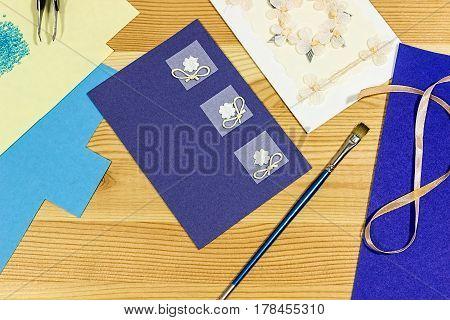Craft making. Making a greeting card. Handmade. Scrapbook.