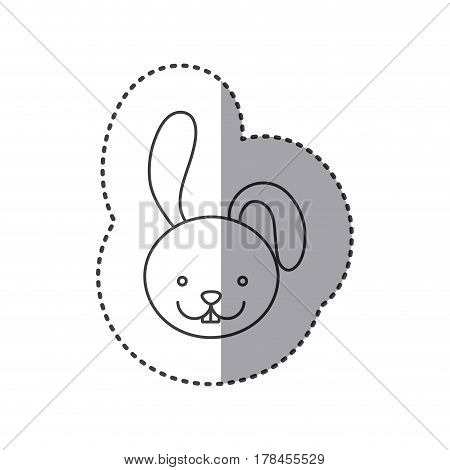 small sticker of grayscale contour with face of rabbit vector illustration