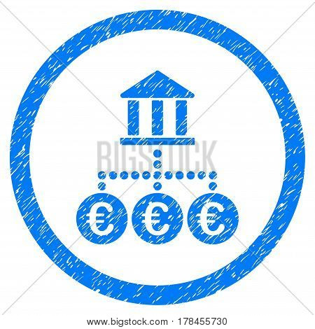 Rounded Euro Bank Transactions rubber seal stamp watermark. Icon symbol inside circle with grunge design and dust texture. Unclean vector blue emblem.