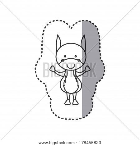 sticker of grayscale contour of donkey vector illustration