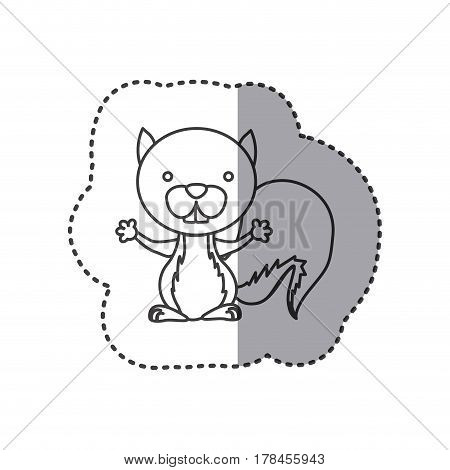 sticker of grayscale contour of squirrel vector illustration