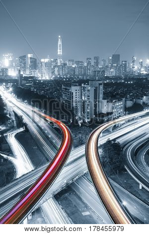 urban traffic with cityscape in modern city of China.