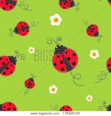 Seamless background with ladybug. A simple pattern. Ladybird on a green background. Vector illustration.