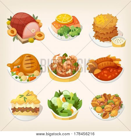 Set of colorful family dinner dishes. Tasty food for luncgh at a restaurant. Isolated vector images.