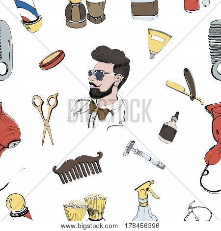 Hand drawn barbershop seamless with accessories comb, razor, shaving brush, scissors, hairdryer, barber s pole and bottle spray, Colorful vector pattern on white background.