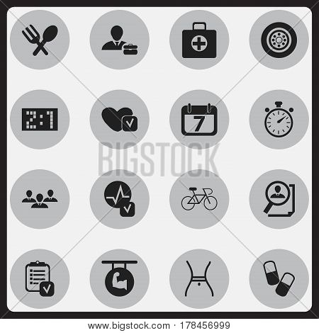 Set Of 16 Editable Mixed Icons. Includes Symbols Such As Cutlery, Soul, First Aid Box And More. Can Be Used For Web, Mobile, UI And Infographic Design.