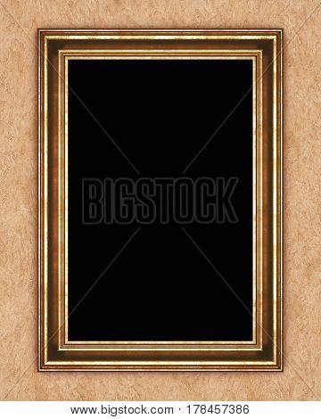 Gilded frame on background of decorative plaster. 3D rendering