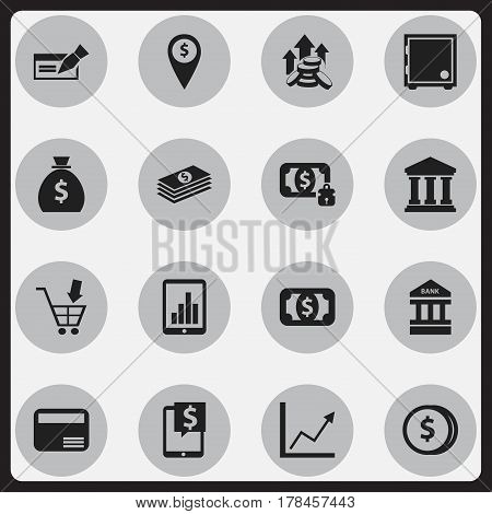 Set Of 16 Editable Financial Icons. Includes Symbols Such As Money Card, Edifice, Salary And More. Can Be Used For Web, Mobile, UI And Infographic Design.