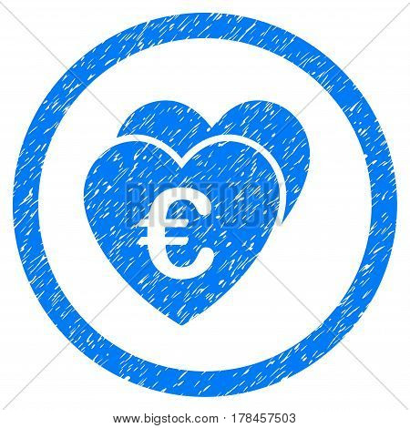 Rounded Euro Favorite Hearts rubber seal stamp watermark. Icon symbol inside circle with grunge design and dust texture. Unclean vector blue sticker.