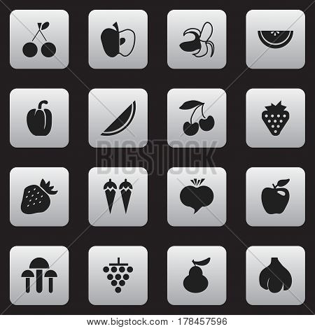 Set Of 16 Editable Berry Icons. Includes Symbols Such As Strawberry, Apple, Banana And More. Can Be Used For Web, Mobile, UI And Infographic Design.
