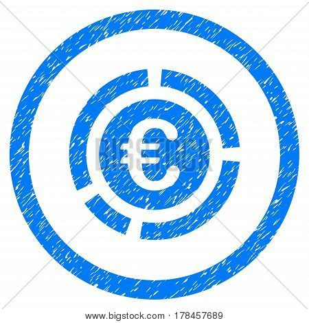 Rounded Euro Financial Diagram rubber seal stamp watermark. Icon symbol inside circle with grunge design and dust texture. Unclean vector blue emblem.