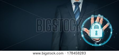 Information technology devices security concept with fingerprint (biometrics) touch identification, authentication and authorization.