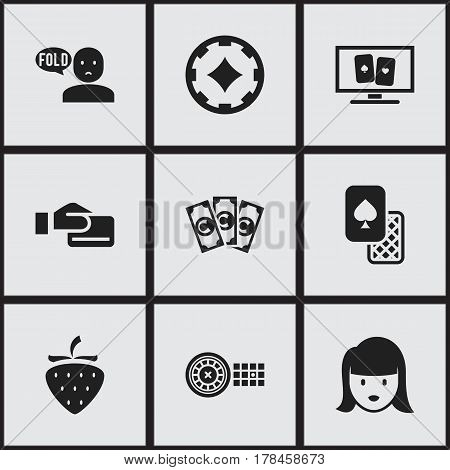 Set Of 9 Editable Gambling Icons. Includes Symbols Such As Cash, Money, Gamble And More. Can Be Used For Web, Mobile, UI And Infographic Design.