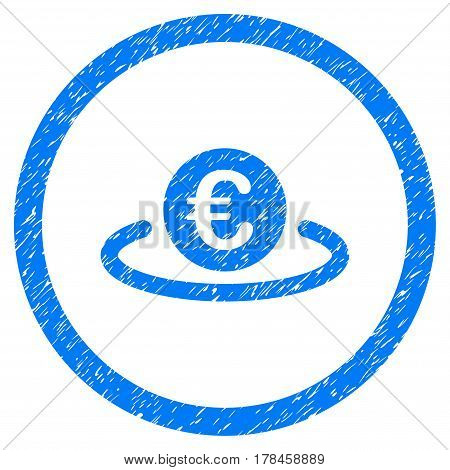 Rounded Euro Placement rubber seal stamp watermark. Icon symbol inside circle with grunge design and dust texture. Unclean vector blue emblem.