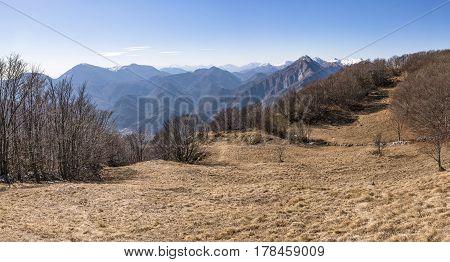 View from Monte San Simeone in Friuli-Venezia Giulia to Julian Alps in Italy