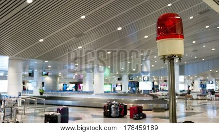 Siren light of a cart or car golf in the airport. Security in the airport concept.