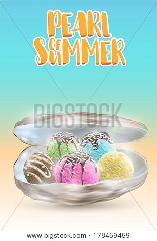 pearl of summer  many ice cream ball  in a sea shell