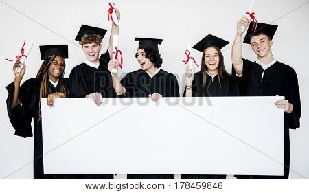 Student Education School Academic Friends Holding Banner Board