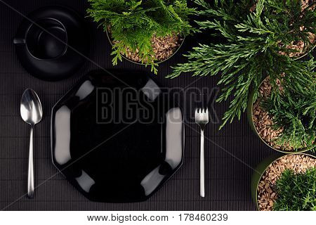 Black glossy plate spoon fork border green plants as elegant minimalistic eco frendly mockup for menu top view.