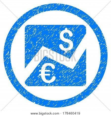 Rounded Forex Chart rubber seal stamp watermark. Icon symbol inside circle with grunge design and unclean texture. Unclean vector blue sign.