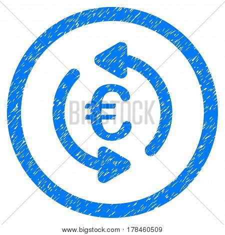 Rounded Refresh Euro rubber seal stamp watermark. Icon symbol inside circle with grunge design and scratched texture. Unclean vector blue emblem.