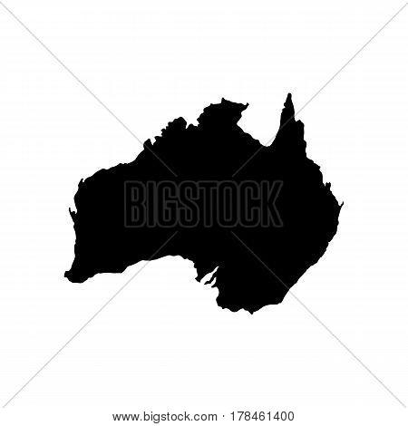 Black Australia map on white background, vector