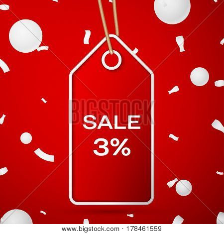 Red pennant with an inscription Big Sale three percent Discounts over a red background and confetti. Sale concept for shops store market, web and other commerce. Vector illustration