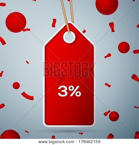 Red pennant with an inscription Big Sale three percent Discounts over a grey background and confetti. Sale concept for shops store market, web and other commerce. Vector illustration.