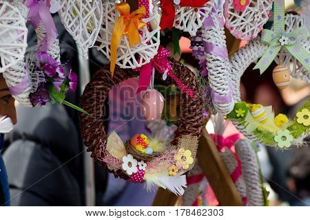 handmade Easter decorations at a local farmers' market