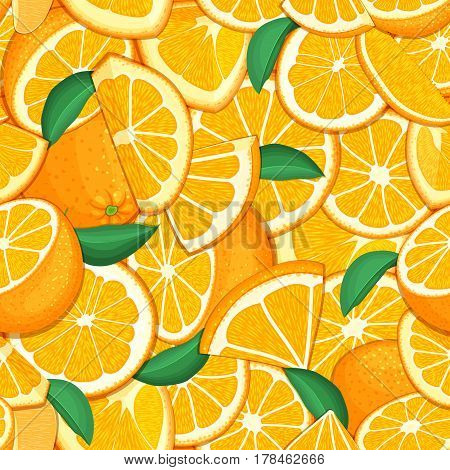 Ripe juicy tropical orange background. Vector card illustration. Closely spaced fresh citrus orange fruit peeled, piece of half, slice. Seamless pattern for packaging design healthy food, diet, juce.