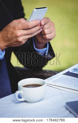 Focused businessman looking at his smartphone sitting on a terrace