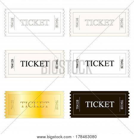 Set ticket icons on white stock vector illustration