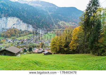 View of village at the Alps in Switzerland