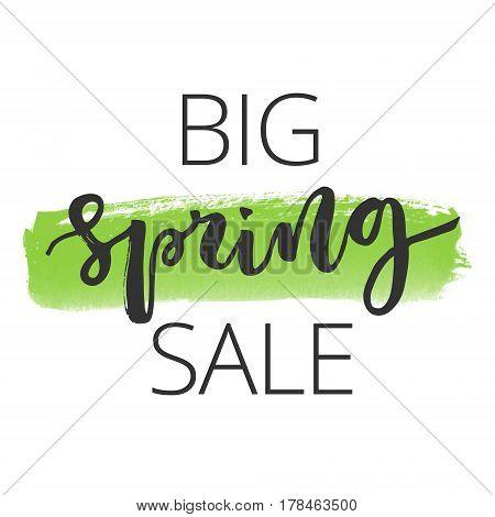 Big spring sale hand written inscription on green watercolour banner background