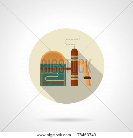 Symbol of chemical plant with storage. Processing natural resources. Industrial building and architecture. Round flat vector icon, long shadow design.