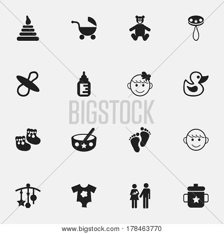Set Of 16 Editable Baby Icons. Includes Symbols Such As Teddy, Goplet, Tower And More. Can Be Used For Web, Mobile, UI And Infographic Design.